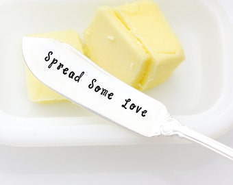 Spread Some Love spreader. Hand stamped butter knife. Stamped silverware for holiday table decor.