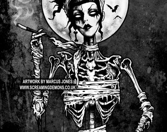 Gothic, Zombie Pinup ,Pinup Rockabilly, Skeleton, Hotrod, dark Art Print by Marcus Jones