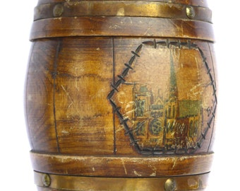 Edwardian Wooden Banded Barrel Tobacco Jar Storage Jar WWI Souvenir from Amiens in France Signed Boli Vintage Woodenware