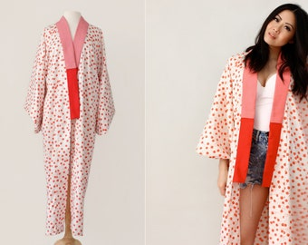 Vintage Japanese Kimono Mini Red Bells Print Long Robe - Vintage Lingerie - Boho Chic - One Size Fits All