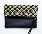 Black Leather Foldover Clutch Gold Eye Print Bag, iPad Zipper Pouch, Indie Alchemy Unique Clutch, Screenprinted Canvas Bag, Eye of Horus