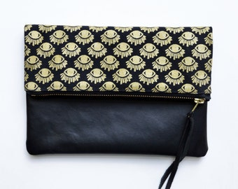 Evil Eye Clutch, Fold Over Bag, Black Leather Clutch, Eye, Of Horus, Fold Over Clutch, Gifts For Her