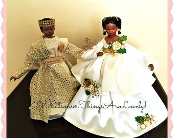 """Set of Black Art Dolls, Inspirational Gifts, African American Children, """"The Little Prince and His Sister"""", Shelf or Mantle Decoration"""