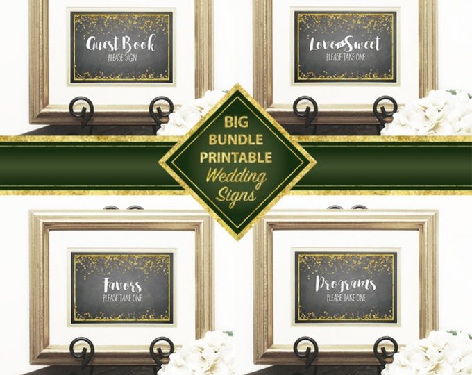 Wedding Signs Big Bundle, Welcome, Gift & Card, Guest Book, Love is Sweet, Popcorn Bar, Photo Booth, Programs, Favors, DIY