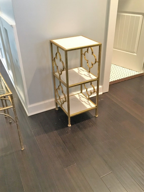 Gold And Marble Trellis Side Table Shelf Shelves