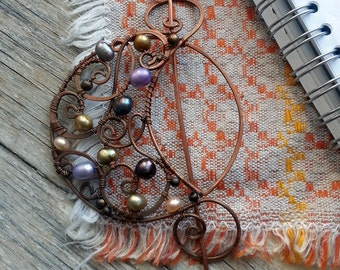 Wire Wrapped Shawl Pin, Scarf Pin or Hat Pin, Rustic Copper Brooch, Crescent Moon pin, Ornate Whimsical pin, Romantic Fibula  Lunar