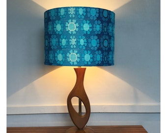 Lamp Shade / Light Shade Handmade From Original Vintage Blue Barkcloth