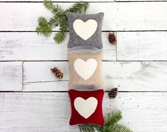 Heart Pillow, Rustic Heart Pillow, Birthday Gift, Anniversary Gift, Wedding Gift, Gift for Her, Rustic Pillow, Small Pillow, Balsam Pillow
