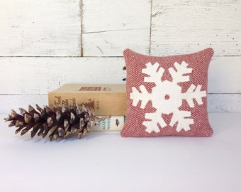 Snowflake Pillow, Holiday Pillow, Snowflake Decor, Rustic Winter Pillow, Christmas Pillow, Cabin Decor, Little Pillow, Balsam Pillow