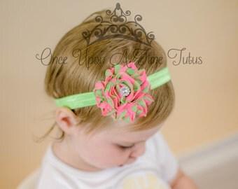 Hot Pink Lime Green Print Shabby Flower Headband Newborn Baby Hairbow Little Girls Hair Bow Watermelon Birthday Color Hair Piece Accessories