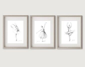 Set of 3 Ballerina, Ballerina Prints, Ballerina Sketch, Ballerina Art Print, Ballerina Drawing, Girl Room Décor, Gift for Girl, Ballet Art