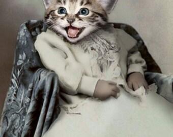Denise, Cat Print, Anthropomorphic, Whimsical Cat Art, Funny Cat, Cat Decor, Cat lover gift, Laughing Cat Print, Dressed up Cat, Unique Art