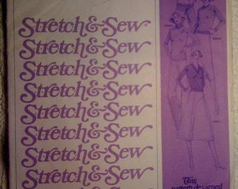 Stretch and Sew Sewing Pattern 635 70s Ladies Cardigan and Pullover Sweater Bust Size 28-44 Uncut