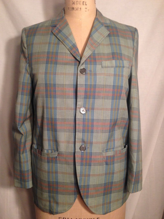 Vintage 70s Mens Plaid Blazer