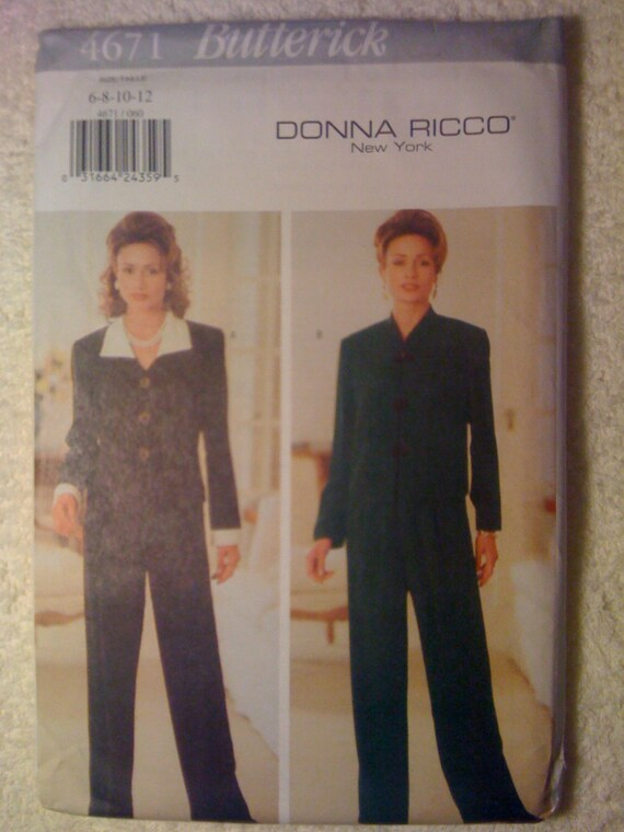 Butterick Sewing Pattern 4671 90s Misses and Miss Petite Top and Pants Size 6-8-10-12 Uncut