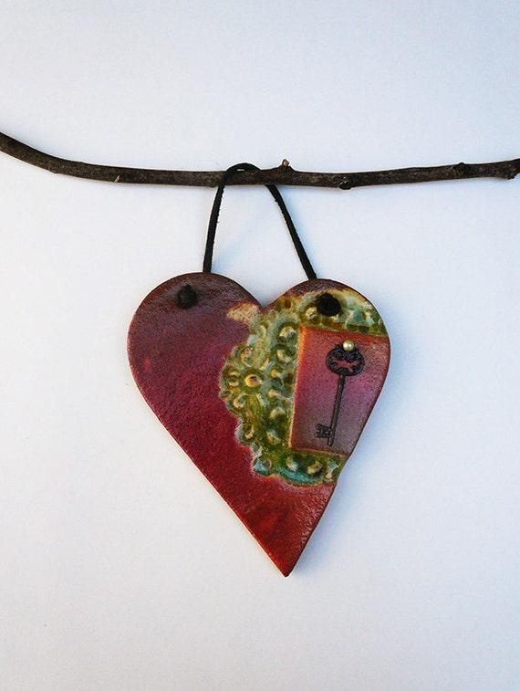 Key Heart Wall Decor, Handmade Pottery Heart Ornament, Wall Hanging Ceramic Heart with a Skeleton Key, Ready to Ship..