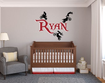 Personalized Motocross Wall Decal, Dirt Bike Wall Decal, Motocross,  Motocross Decor, Dirt Part 47