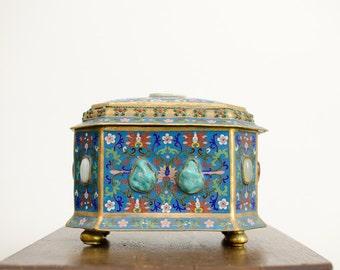 Rare Antique Chinese Jade & Gem Set Cloisonné Enameled Gilt Treasure Chest w/ Lid