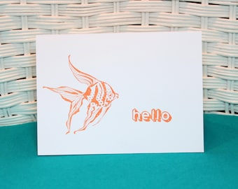Set of 5 Hand Stamped Orange Fish Cards, Hello