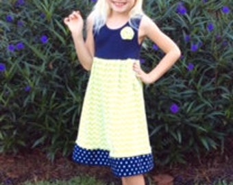 LIME CHEVRON KNIT, paired with navy tank and navy polka hem ... sizes 6mo- 8yrs
