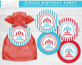 Circus / Carnival Theme Birthday Party Favor Tags | Aqua & Red | Personalized | Printable DIY Digital File