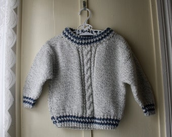 Vintage handknit grey, white, and blue sweater / cableknit salt & pepper jumper / baby lumber jack sweater / 6  to 12 months