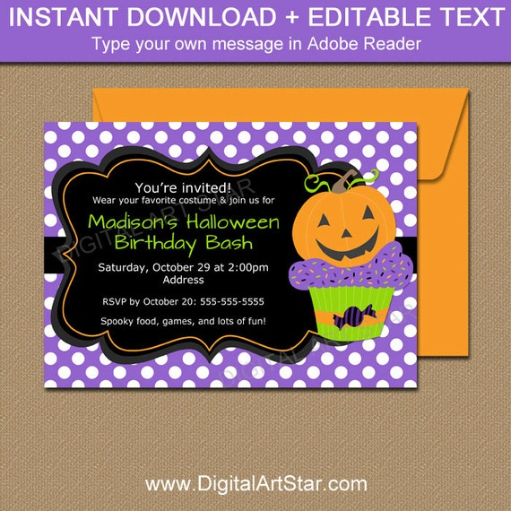 Pumpkin BIRTHDAY Invitation, Halloween Birthday Invitation