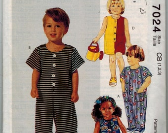 McCall's 7024 UNCUT Almost Vintage Toddlers 2 Hour Jumpsuit - Button Front, Patch Pockets Size CB 1,2,3