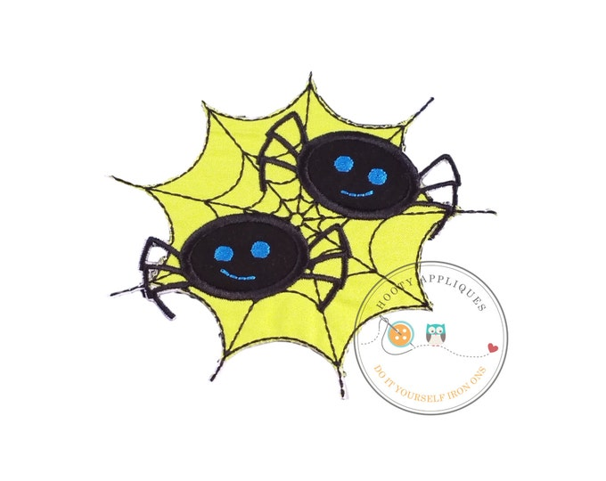 Two black spiders in green web Halloween iron on applique for kids, Spider embroidered fabric applique for holiday, creepy spider