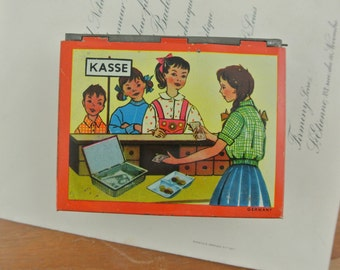 Vintage German Cash Tin Toy with Coins & Notes | Play Money | Toy Money Box | Shop Play   | German Coins