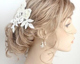 Bridal Hair Comb- Lace Hairpiece- Bridal Hair Accessories- Lace Hair Clip- Wedding Hair Accessories- Lace Bridal Comb- Brass Boheme-Haircomb