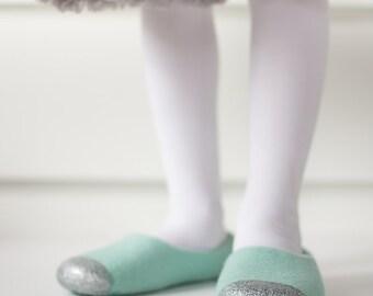 Felted Slippers for Girls - Felted Ballet Flats - Glitter House Slippers - Mint Green Slippers - Junior Felt Slipper - Wool Felt Slippers