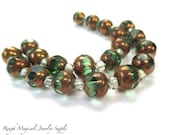 Green & Copper Cathedral Beads, 8mm Two Tone Beads, Cut Glass Faceted Round Beads, Olivine Metal Finish Beads Jewelry Making - 20 Pieces