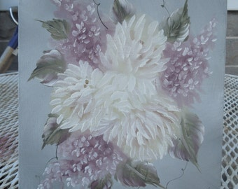 Vintage Oil on Canvas Lilacs Flowers Floral Painting Still Life Artist Signed