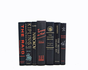 Antique BLACK Book Decor, Decorative Books, Orange Book Set, Old BOok Collection, VIntage BOok Decor, Book BUndle, Instant Library, Kipling