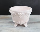 Vintage Pink Milk Glass, three legged Footed Compote.