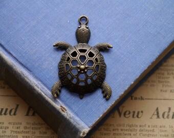 Large Antique Bronze Turtle Tortoise Charms Pendants 57mm (BC2893)