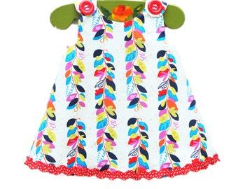 Fall Leaves Aline - Rainbow Leaves - Toddler Clothing - Peasant Dress - Nature Dress - Girls Clothing  - KK Children Designs - 3M to 4T