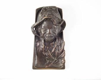 Johnny Griffin Inkwell Black Americana Bronze Inkwell Circa 1920s