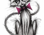 Little Fluffy Print A4 size picture Ultra cute adorable little pet pussycat kitty with long thin tail and bow tie Drawing printed on paper