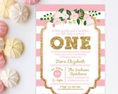 Pink and gold first birthday, pink and gold birthday, Pink and Gold invitation, 1st Birthday Invitation, Gold Glitter Invitation, Printable