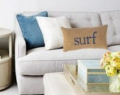 surf decor, surf pillow, coastal living, nautical decor, blue accent pillow, beach house decor, surfer, nautical nursery, whimsysweetwhimsy