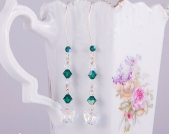 Swarovski earrings with marquise hooks, Aurora Borealis butterflies, emerald green long earrings, sterling silver, AB emerald green crystal
