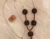 cord necklace wooden carved beads lotus buddha head tassle necklace simple long buddhist necklace with large carved beads