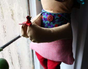 handmade one of a kind recycled fabric doll