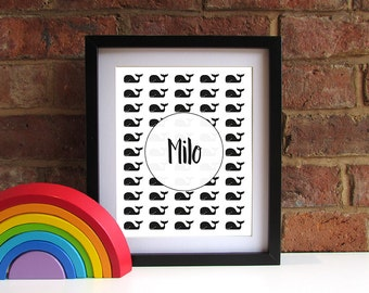 Bold Modern Baby Child Name Keepsake Print - Whales - Monochrome - Unisex - 8x10 inch