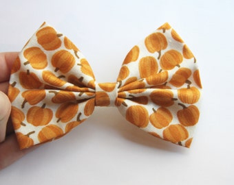 SALE - Pumpkin Hair Bow - Pumpkin Print Hair Bow with Clip
