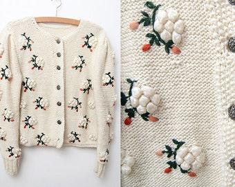 Vintage ivory white cardigan with pom pom flowers
