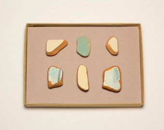Blue Ocean Pottery Shards Magnets   Cermiac magnets, unique terracota magnets, Set of 6 Magnets, super strong magnet home décor gift woman