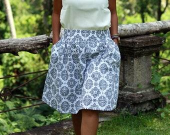 White and Grey Damask Skirt / Midi Skirt with Pockets / Women's Skirts / Elastic Waist SKirt / Damask Skirt / White and Coral Summer Skirt